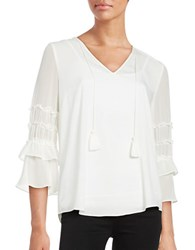 T Tahari Ruffled Three Quarter Sleeve Peasant Top Antique