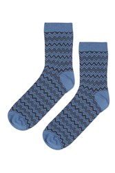 Topshop Zig Zag Stitch Ankle Socks Blue