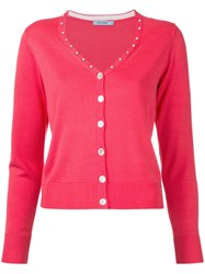 Guild Prime V Neck Cardigan Women Acrylic Rayon 36 Red