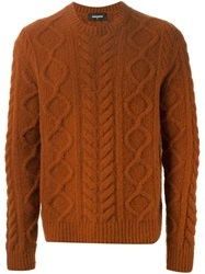 Dsquared2 Cable Knit Sweater Yellow And Orange