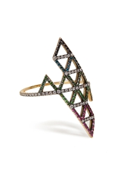 Lito Gold Diamond And Tsavorite Triangle Ring