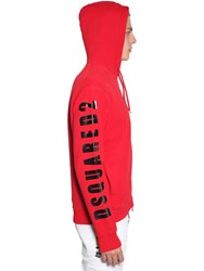Dsquared Logo Print Zip Up Cotton Jersey Hoodie Red