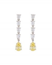 Fantasia Tiered Pear Cut Cz Dangle Earrings Yellow