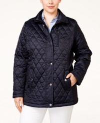 Nautica Plus Size Quilted Barn Jacket Marine