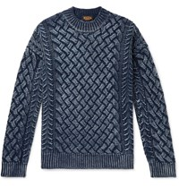 Tod's Slim Fit Cable Knit Merino Wool Sweater Blue