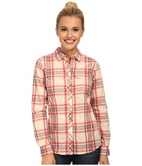 The North Face Baylyn Plaid Shirt Emberglow Orange Vintage White Women's Long Sleeve Button Up
