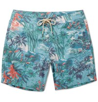 Faherty Mid Length Printed Swim Shorts Blue