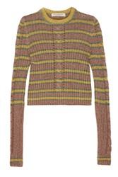 Philosophy Di Lorenzo Serafini Metallic Striped Cable Knit Sweater Yellow