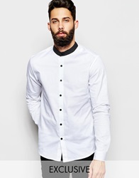 Reclaimed Vintage Smart Shirt With Grandad Collar White