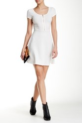Iris Short Sleeve Fit And Flare Dress White