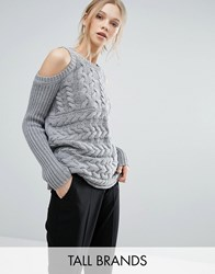 Y.A.S Tall Cold Shoulder Cable Knit Jumper Grey