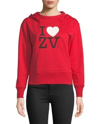 Zadig And Voltaire I Love Zv Cotton Pullover Hoodie Red
