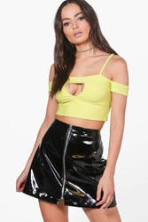 Boohoo Bandage Cut Out Crop Lime