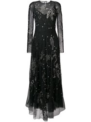Amen Long Embroidered Gown Black