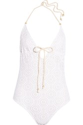 Eberjey Boho Beautiful Charlotte Crocheted Swimsuit White