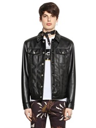 Msgm Bonded Wool And Faux Leather Jacket