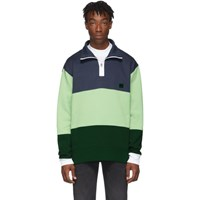 Acne Studios Blue And Green Flint Flag Face Zip Sweatshirt