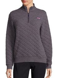Vineyard Vines Shep Quilted Sweater Cypress Charcoal