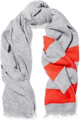 Duffy Fringed Striped Wool And Cashmere Blend Scarf Gray
