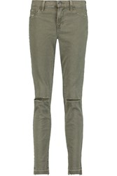 J Brand 811 Distressed Mid Rise Skinny Jeans Army Green