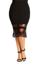 Plus Size Women's City Chic Lace Hem Midi Tube Skirt