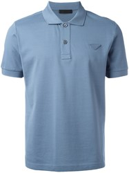 Prada Short Sleeve Polo Shirt Blue