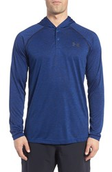 Under Armour Men's 'Ua Tech' Long Sleeve Hooded Henley Royal