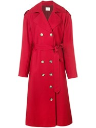 Khaite Double Breasted Trench Coat Red