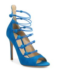 Gianvito Rossi Suede Button Strap Peep Toe Pumps Blue