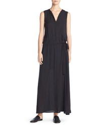 Vince Silk Belted Drop Waist Maxi Dress Black