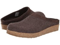 Haflinger Gzl Leather Trim Grizzly Smoke Brown Clog Shoes