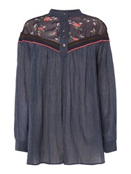 Free People Longsleeve Shirt With Crochet Top Detail Navy