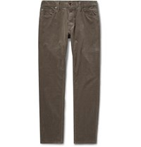 Todd Snyder Slim Fit Garment Dyed Cotton Blend Corduroy Trousers Green