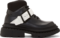 Kenzo Black Leather Chunky Buckle Boots