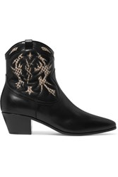 Saint Laurent Rock Ayers Paneled Leather Ankle Boots Black