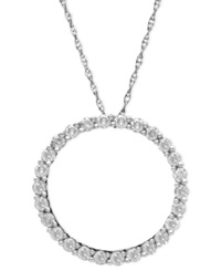 Macy's Diamond Open Circle Pendant Necklace In 14K White Gold 1 2 Ct. T.W.