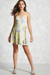 Forever 21 Floral Wrap Dress Light Yellow Grey