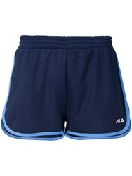 Fila Logo Embroidered Track Shorts Blue