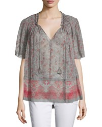 Elie Tahari Short Sleeve Tassel Tie Printed Blouse Women's Size Xl Brown