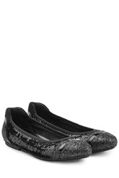 Hogan Leather Ballerinas With Glitter And Sequins Black