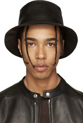 11 By Boris Bidjan Saberi Black Leather Bucket Hat