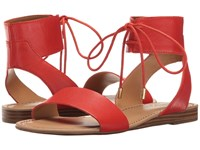 Franco Sarto Glenys Orange Polly Lux Leather Women's Sandals Red