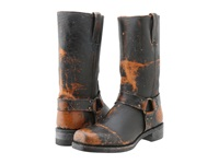 Frye Harness 12R Whiskey Painted Stonewash Cowboy Boots Black