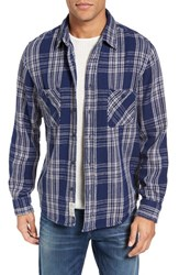 Schott Nyc Men's Plaid Flannel Shirt Navy