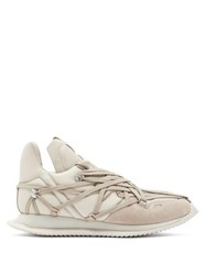 Rick Owens Maximal Runner Laced Leather Trainers Beige
