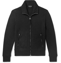 Tom Ford Suede Trimmed Ribbed Wool Zip Up Cardigan Black