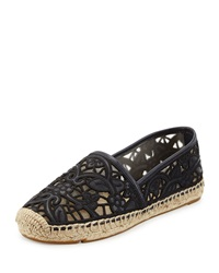 Tory Burch Lucia Lace Espadrille Flat Tory Navy Black