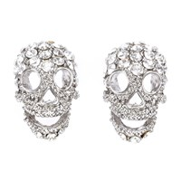 Shay Accessories Mini Skull Post Earrings Silver Clear Diamond