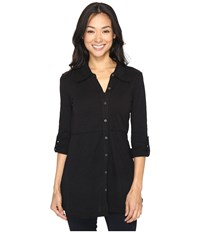 Mod O Doc Slub Jersey Button Up Long Sleeve Shirt Black Women's Clothing