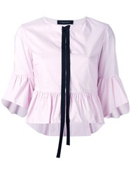Christian Pellizzari Black Trim Peplum Shirt Pink Purple